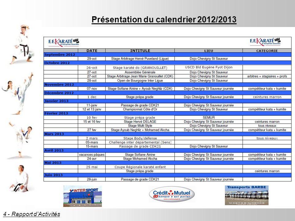 Présentation du calendrier 2012/2013 4 - Rapport dActivités