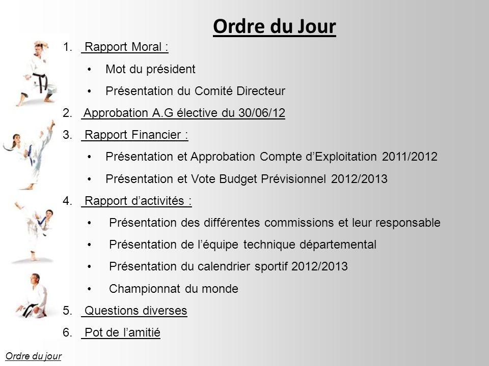 Ordre du Jour 1.Rapport Moral : Mot du président Présentation du Comité Directeur 2.