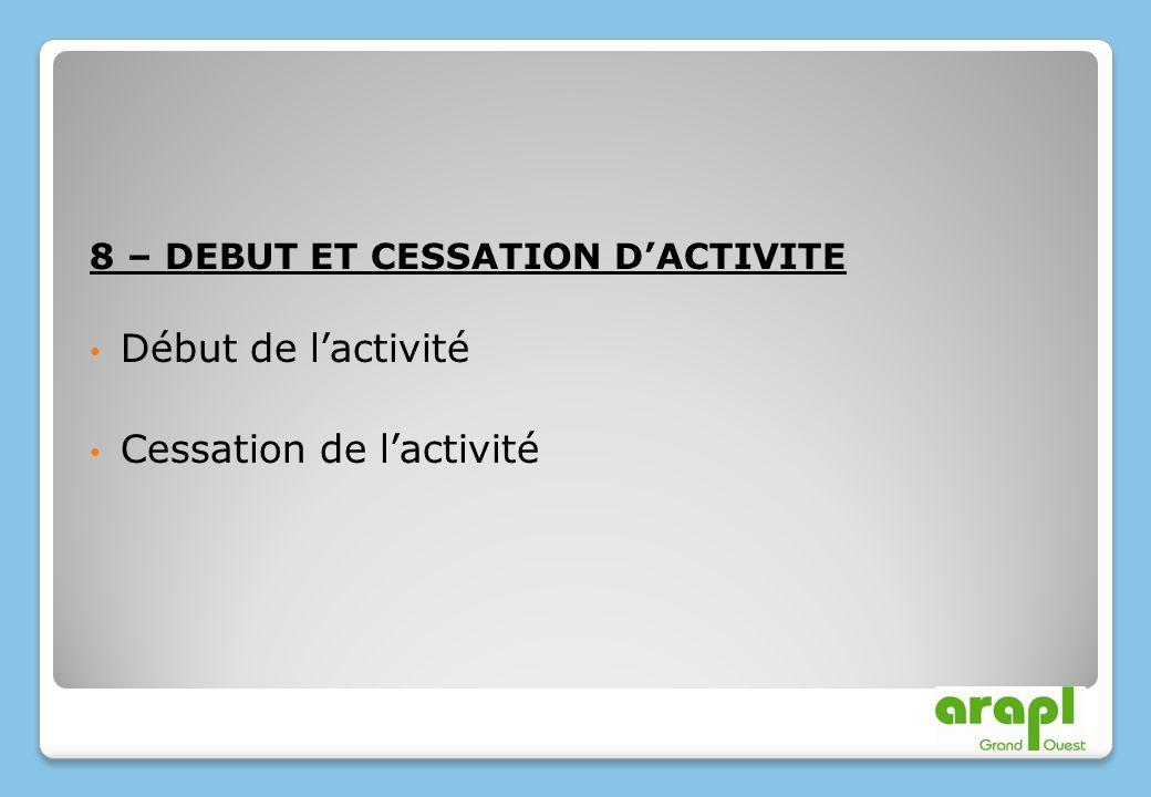 8 – DEBUT ET CESSATION DACTIVITE Début de lactivité Cessation de lactivité