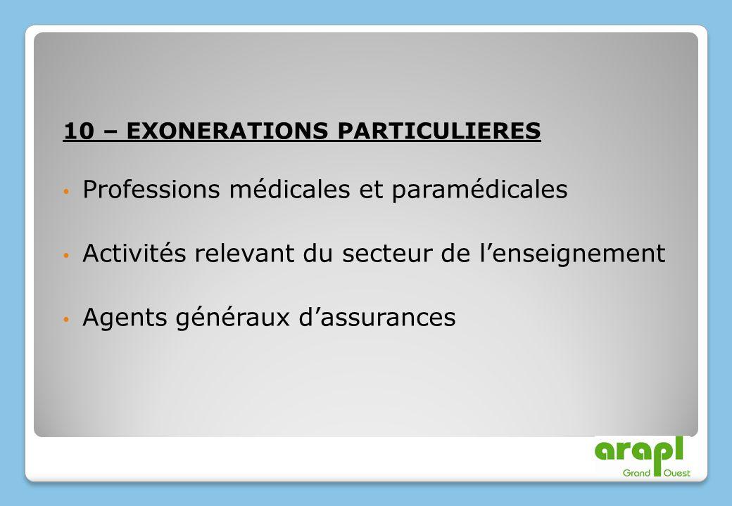 10 – EXONERATIONS PARTICULIERES Professions médicales et paramédicales Activités relevant du secteur de lenseignement Agents généraux dassurances