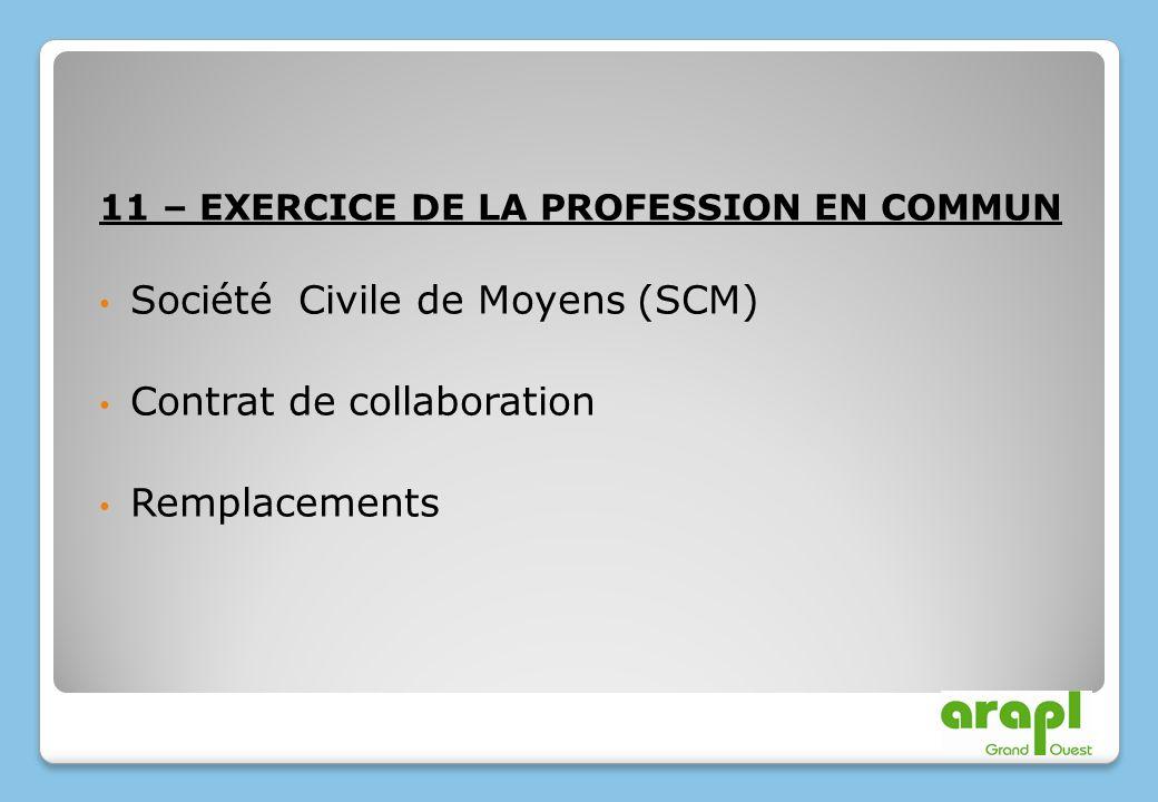 11 – EXERCICE DE LA PROFESSION EN COMMUN Société Civile de Moyens (SCM) Contrat de collaboration Remplacements