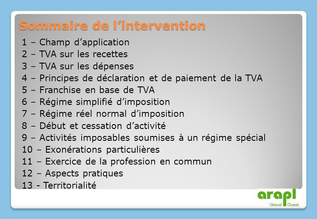 Sommaire de lintervention 1 – Champ dapplication 2 – TVA sur les recettes 3 – TVA sur les dépenses 4 – Principes de déclaration et de paiement de la T
