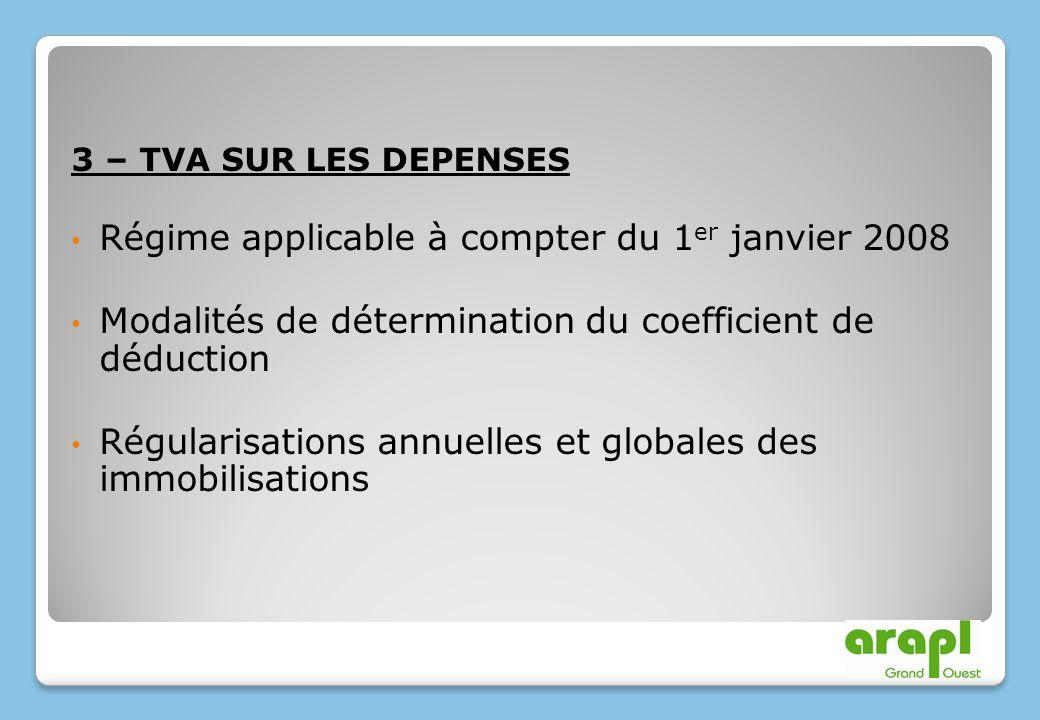 3 – TVA SUR LES DEPENSES Régime applicable à compter du 1 er janvier 2008 Modalités de détermination du coefficient de déduction Régularisations annue