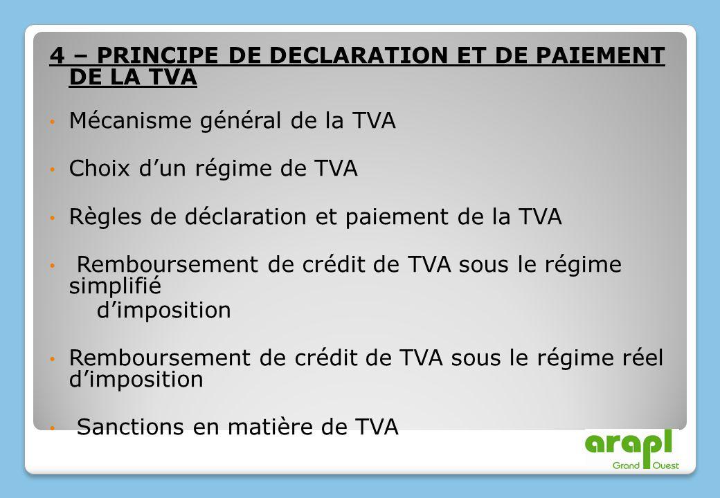 4 – PRINCIPE DE DECLARATION ET DE PAIEMENT DE LA TVA Mécanisme général de la TVA Choix dun régime de TVA Règles de déclaration et paiement de la TVA R