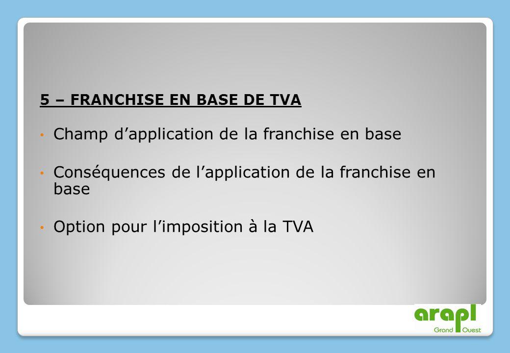 5 – FRANCHISE EN BASE DE TVA Champ dapplication de la franchise en base Conséquences de lapplication de la franchise en base Option pour limposition à