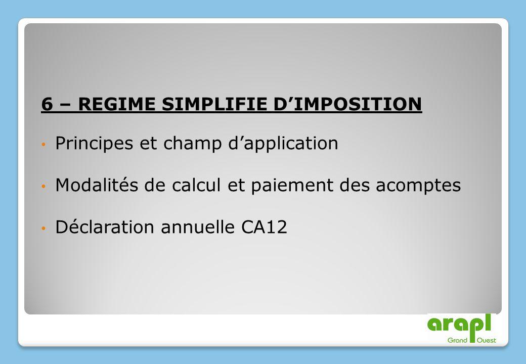 6 – REGIME SIMPLIFIE DIMPOSITION Principes et champ dapplication Modalités de calcul et paiement des acomptes Déclaration annuelle CA12