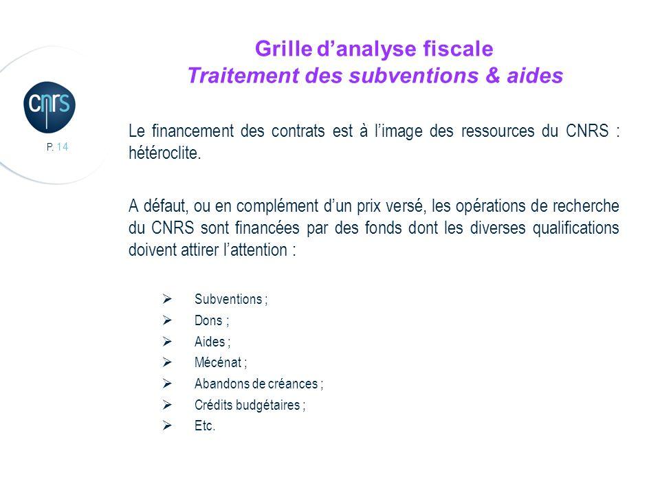 P. 14 Grille danalyse fiscale Traitement des subventions & aides Le financement des contrats est à limage des ressources du CNRS : hétéroclite. A défa