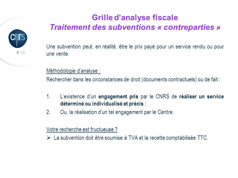 P. 15 Grille danalyse fiscale Traitement des subventions « contreparties » Une subvention peut, en réalité, être le prix payé pour un service rendu ou