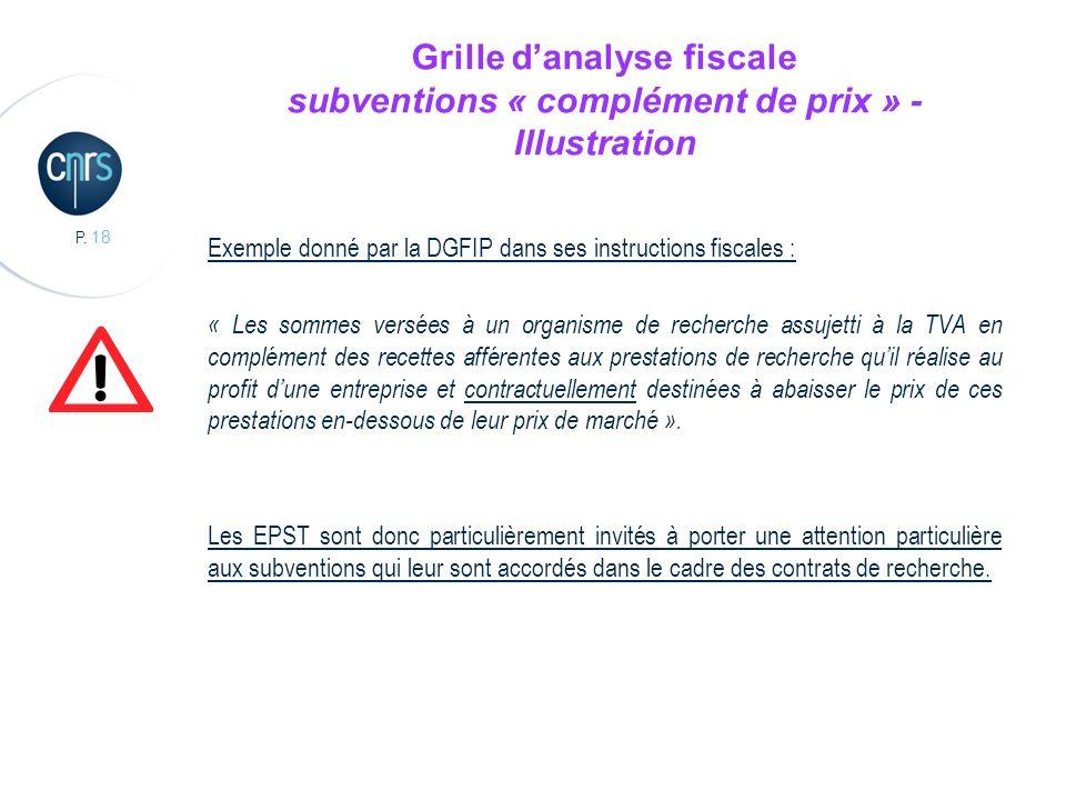 P. 18 Grille danalyse fiscale subventions « complément de prix » - Illustration Exemple donné par la DGFIP dans ses instructions fiscales : « Les somm