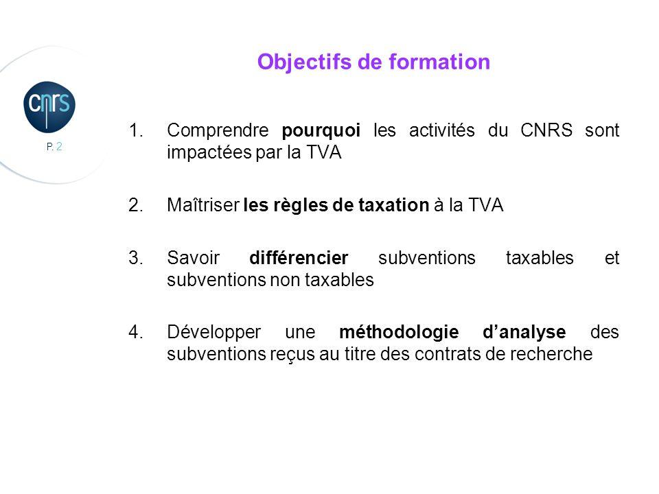 P. 2 Objectifs de formation 1.Comprendre pourquoi les activités du CNRS sont impactées par la TVA 2.Maîtriser les règles de taxation à la TVA 3.Savoir