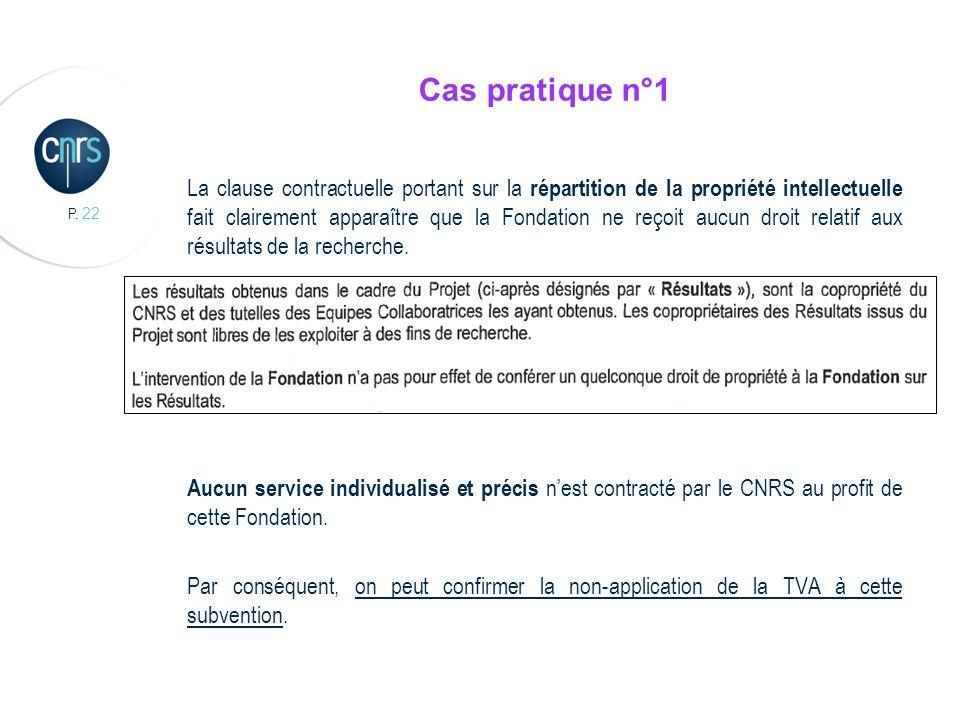 P. 22 Cas pratique n°1 La clause contractuelle portant sur la répartition de la propriété intellectuelle fait clairement apparaître que la Fondation n