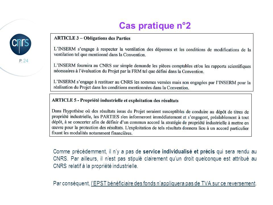P. 24 Cas pratique n°2 Comme précédemment, il ny a pas de service individualisé et précis qui sera rendu au CNRS. Par ailleurs, il nest pas stipulé cl