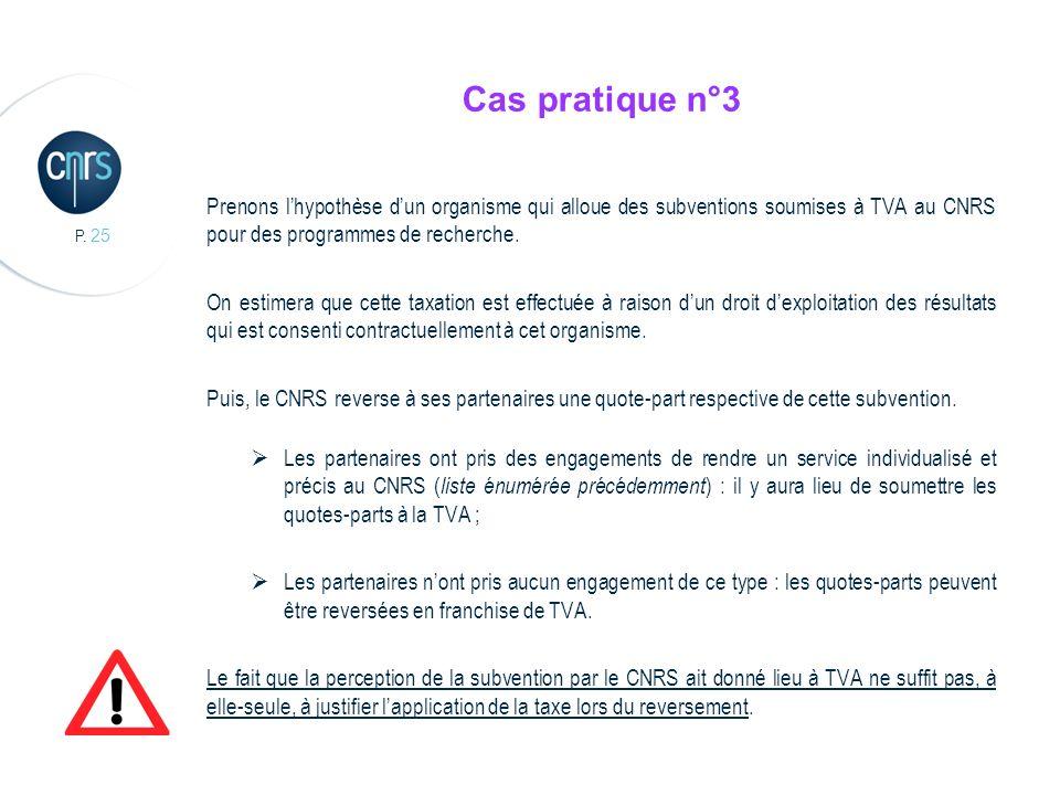P. 25 Cas pratique n°3 Prenons lhypothèse dun organisme qui alloue des subventions soumises à TVA au CNRS pour des programmes de recherche. On estimer
