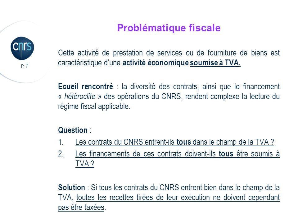 P. 7 Problématique fiscale Cette activité de prestation de services ou de fourniture de biens est caractéristique dune activité économique soumise à T