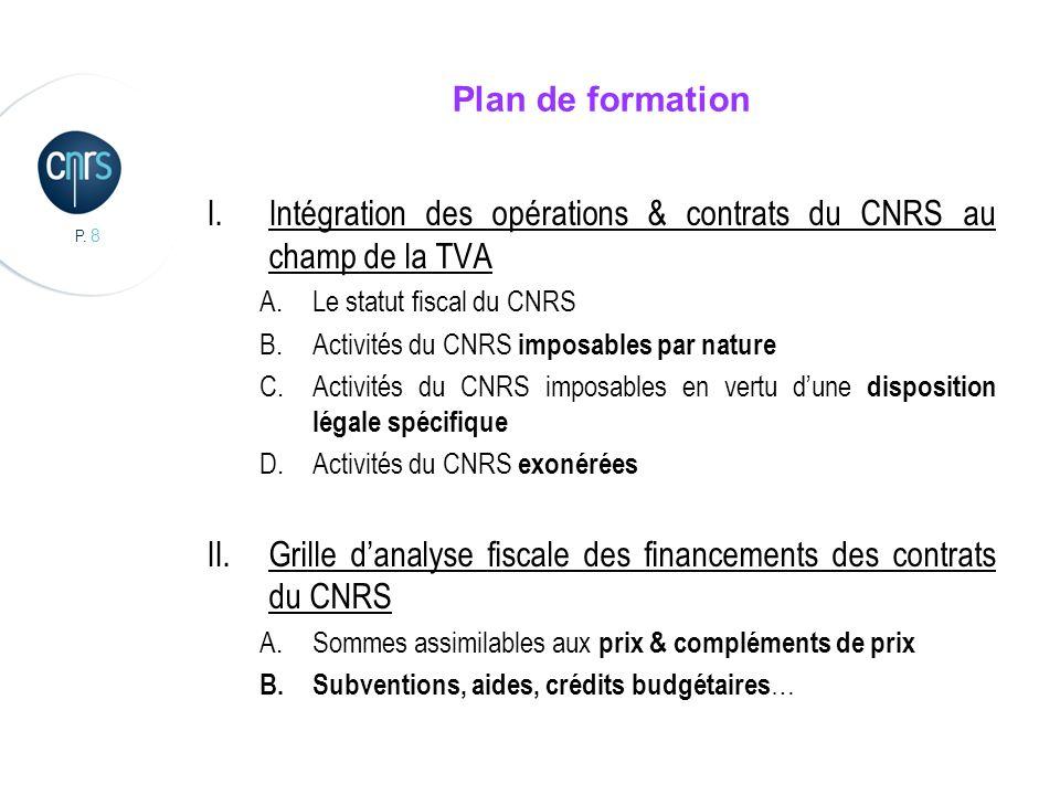P. 8 Plan de formation I.Intégration des opérations & contrats du CNRS au champ de la TVA A.Le statut fiscal du CNRS B.Activités du CNRS imposables pa