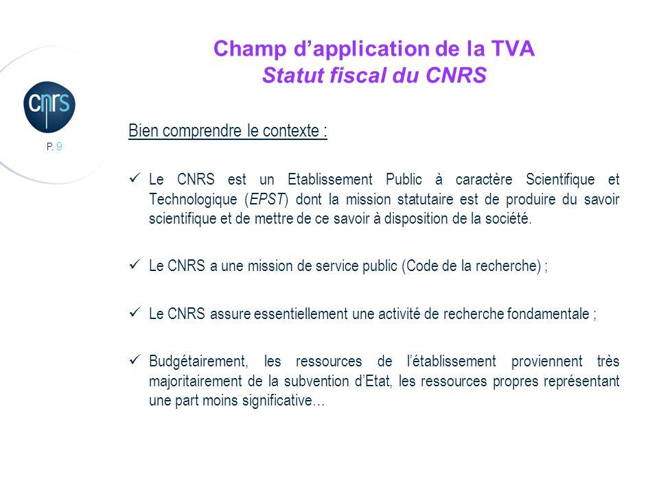 P. 9 Champ dapplication de la TVA Statut fiscal du CNRS Bien comprendre le contexte : Le CNRS est un Etablissement Public à caractère Scientifique et