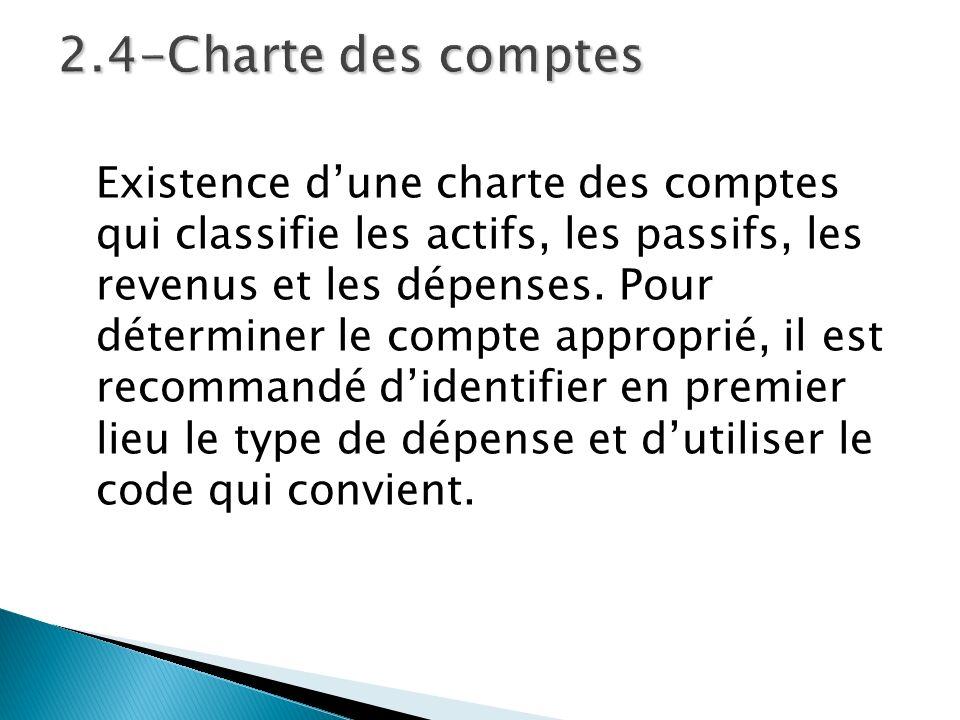 Existence dune charte des comptes qui classifie les actifs, les passifs, les revenus et les dépenses. Pour déterminer le compte approprié, il est reco