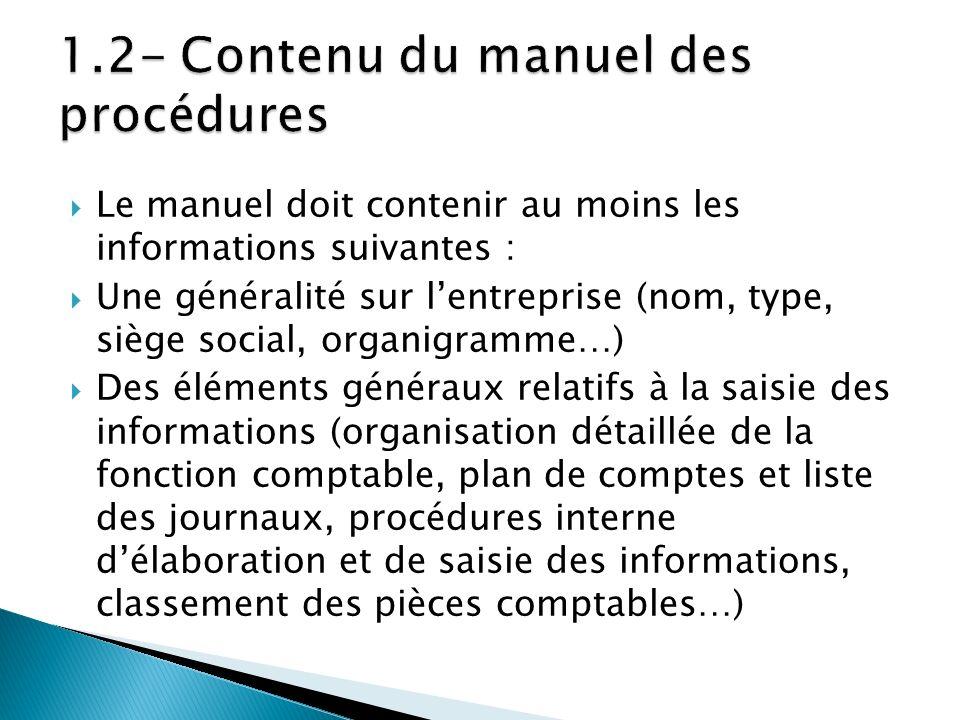 Le manuel doit contenir au moins les informations suivantes : Une généralité sur lentreprise (nom, type, siège social, organigramme…) Des éléments gén