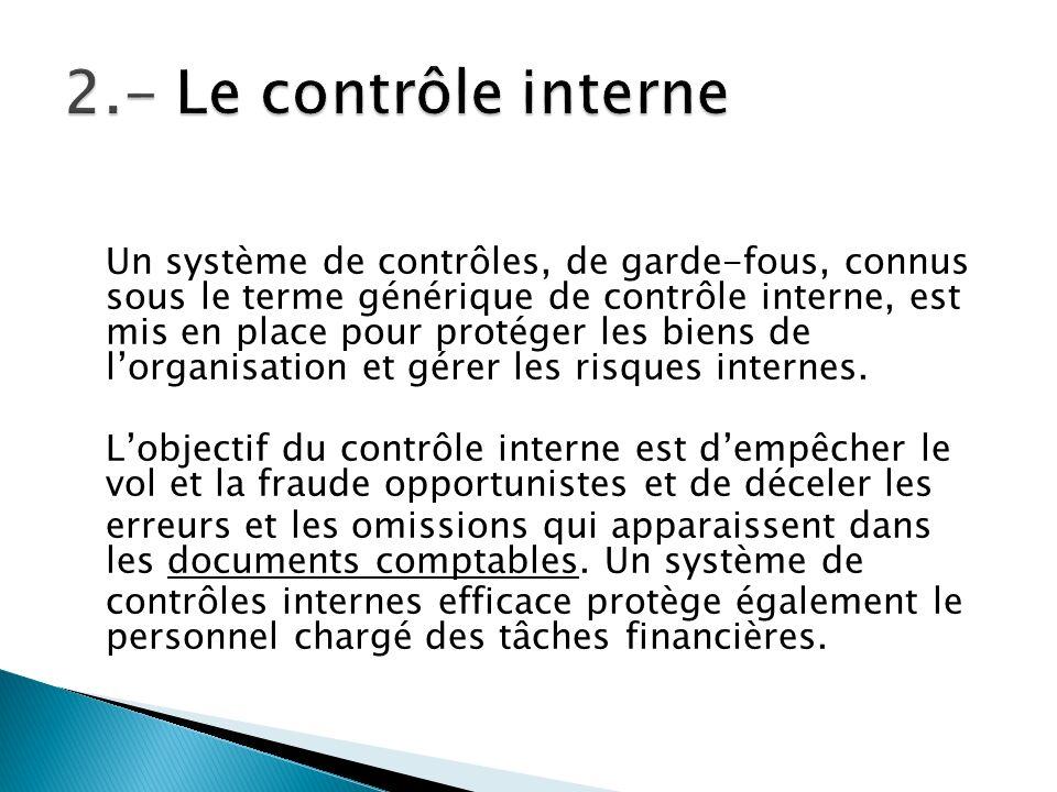 Un système de contrôles, de garde-fous, connus sous le terme générique de contrôle interne, est mis en place pour protéger les biens de lorganisation