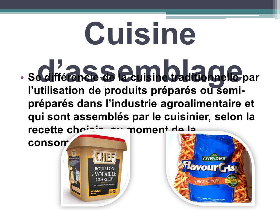 Cuisine dassemblage Se différencie de la cuisine traditionnelle par lutilisation de produits préparés ou semi- préparés dans lindustrie agroalimentair