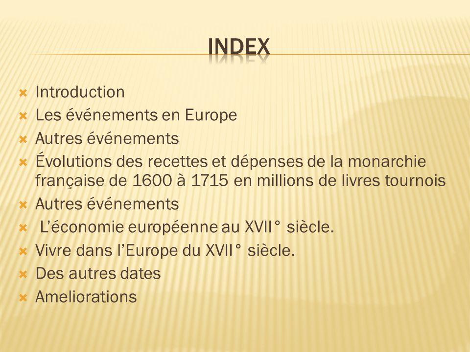 Introduction Les événements en Europe Autres événements Évolutions des recettes et dépenses de la monarchie française de 1600 à 1715 en millions de li