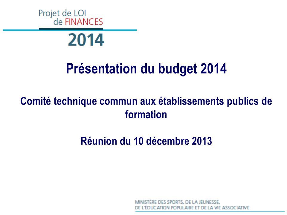 Présentation du budget 2014 Comité technique commun aux établissements publics de formation Réunion du 10 décembre 2013