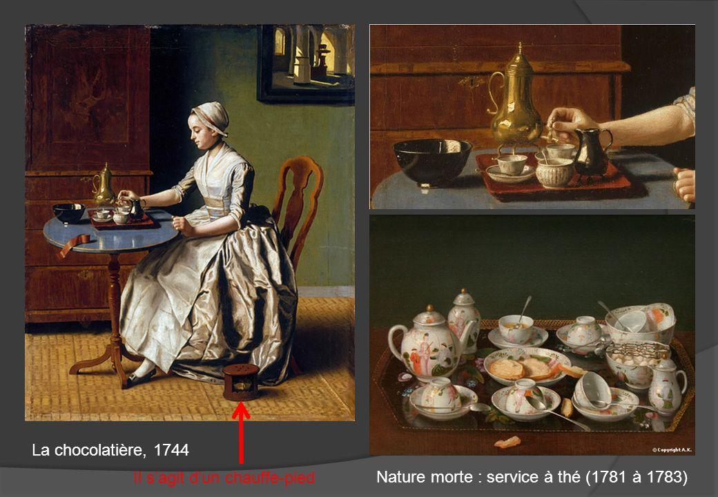 La chocolatière, 1744 Il sagit dun chauffe-pied Nature morte : service à thé (1781 à 1783)