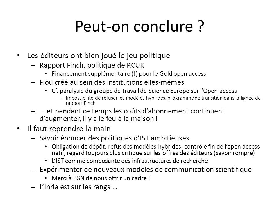 Peut-on conclure .