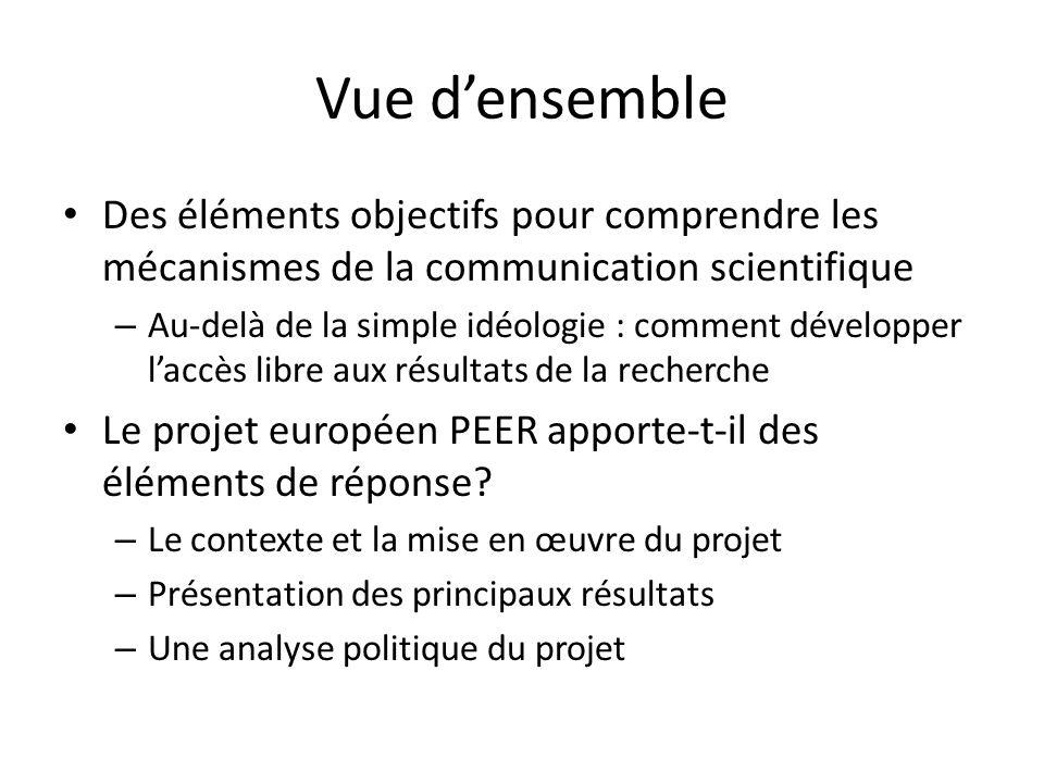 Vue densemble Des éléments objectifs pour comprendre les mécanismes de la communication scientifique – Au-delà de la simple idéologie : comment développer laccès libre aux résultats de la recherche Le projet européen PEER apporte-t-il des éléments de réponse.
