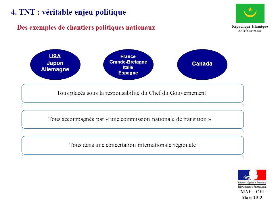 4. TNT : véritable enjeu politique République Islamique de Mauritanie France Grande-Bretagne Italie Espagne Canada USA Japon Allemagne Tous dans une c