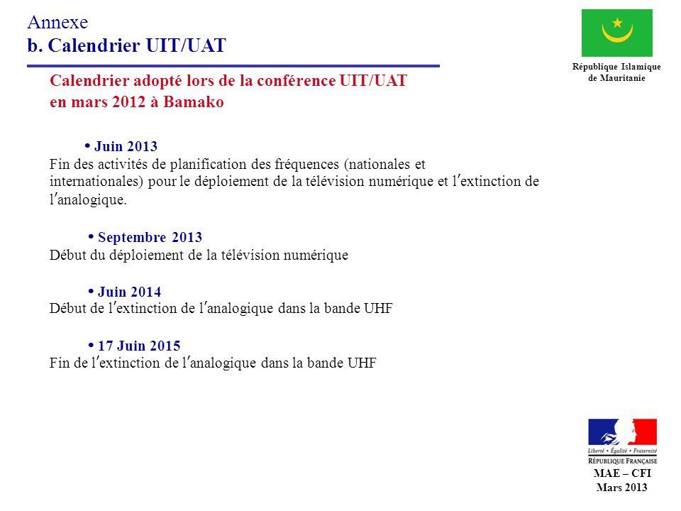 Annexe b. Calendrier UIT/UAT République Islamique de Mauritanie Calendrier adopté lors de la conférence UIT/UAT en mars 2012 à Bamako Juin 2013 Fin de