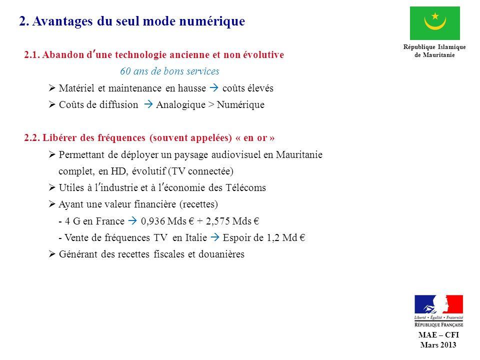 2. Avantages du seul mode numérique République Islamique de Mauritanie 2.1. Abandon dune technologie ancienne et non évolutive 60 ans de bons services
