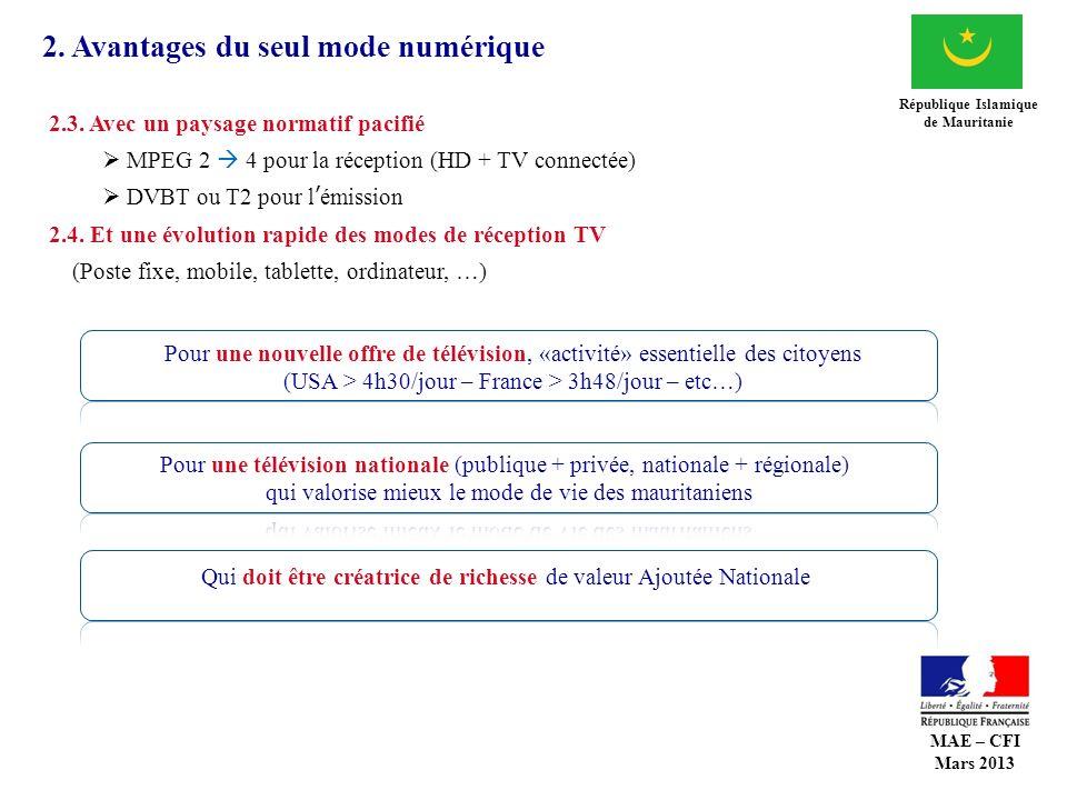 2. Avantages du seul mode numérique République Islamique de Mauritanie 2.3. Avec un paysage normatif pacifié MPEG 2 4 pour la réception (HD + TV conne