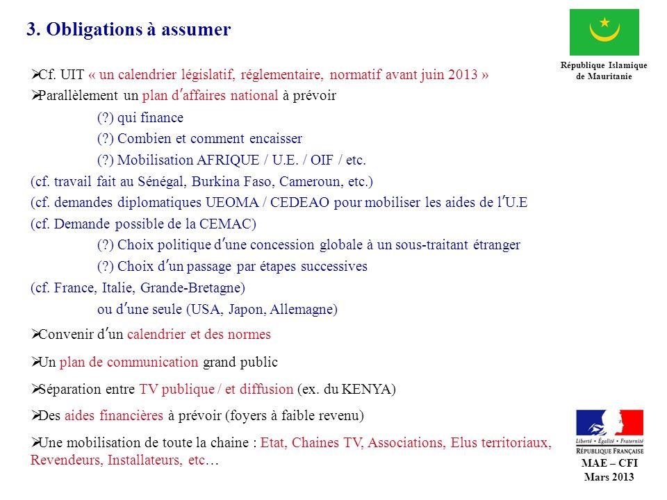 3. Obligations à assumer République Islamique de Mauritanie Cf. UIT « un calendrier législatif, réglementaire, normatif avant juin 2013 » Parallèlemen
