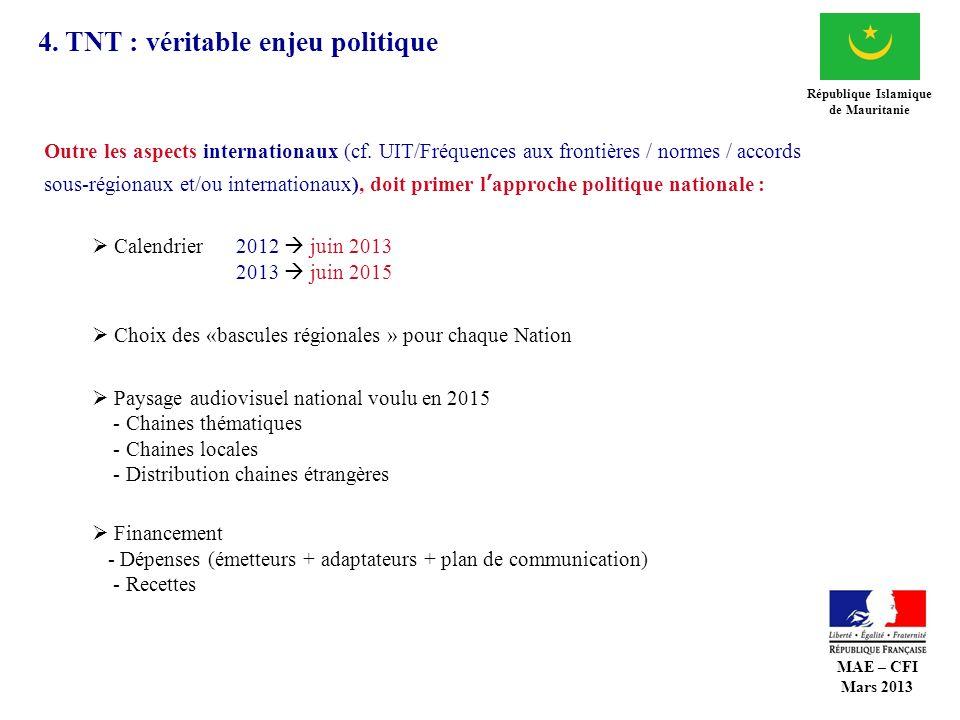4. TNT : véritable enjeu politique République Islamique de Mauritanie Outre les aspects internationaux (cf. UIT/Fréquences aux frontières / normes / a
