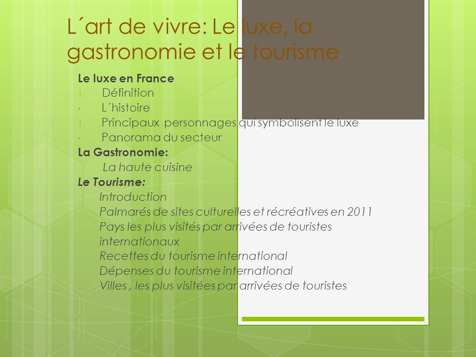 L´art de vivre: Le luxe, la gastronomie et le tourisme Le luxe en France 1. Définition L´histoire 1. Principaux personnages qui symbolisent le luxe Pa
