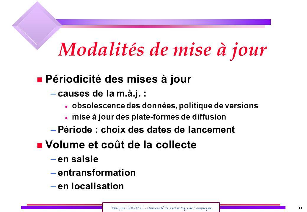 Philippe TRIGANO - Université de Technologie de Compiègne 11 Modalités de mise à jour n Périodicité des mises à jour –causes de la m.à.j. : l obsolesc