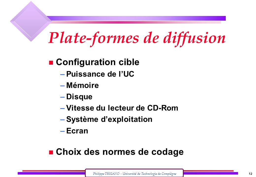 Philippe TRIGANO - Université de Technologie de Compiègne 12 Plate-formes de diffusion n Configuration cible –Puissance de lUC –Mémoire –Disque –Vites