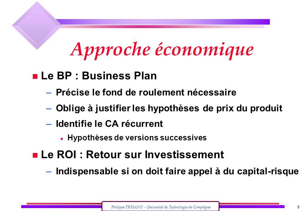 Philippe TRIGANO - Université de Technologie de Compiègne 5 Approche économique n Le BP : Business Plan – Précise le fond de roulement nécessaire – Ob