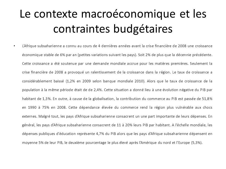 Le contexte macroéconomique et les contraintes budgétaires LAfrique subsaharienne a connu au cours de 4 dernières années avant la crise financière de 2008 une croissance économique stable de 6% par an (petites variations suivant les pays).