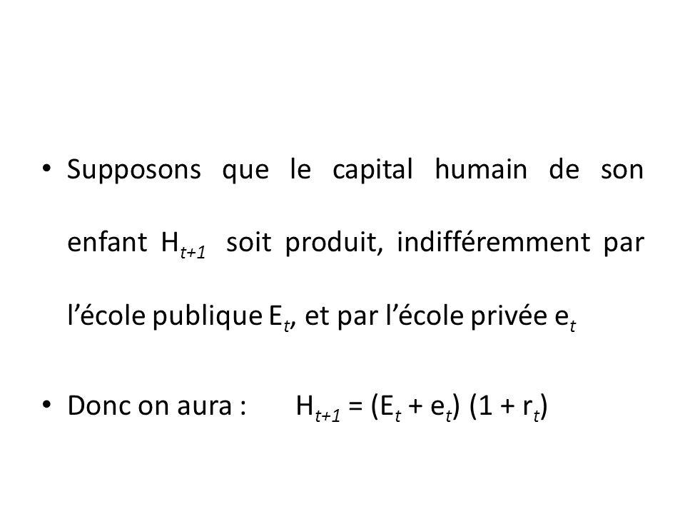 Supposons que le capital humain de son enfant H t+1 soit produit, indifféremment par lécole publique E t, et par lécole privée e t Donc on aura : H t+1 = (E t + e t ) (1 + r t )