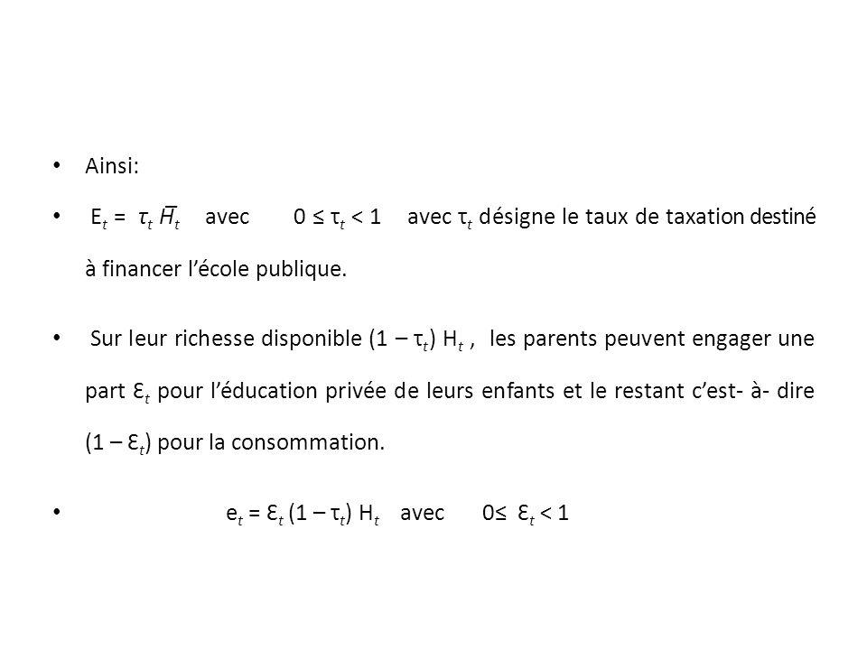 Ainsi: E t = τ t H̅ t avec 0 τ t ˂ 1 avec τ t désigne le taux de taxation destiné à financer lécole publique.