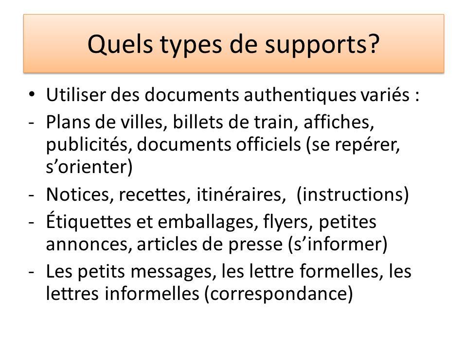 Quels types de supports? Utiliser des documents authentiques variés : -Plans de villes, billets de train, affiches, publicités, documents officiels (s