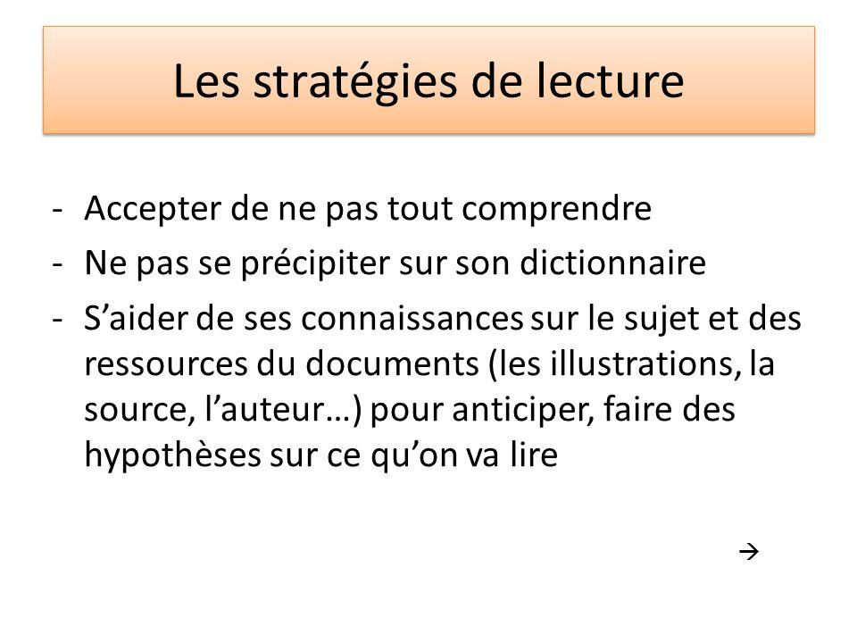 Les stratégies de lecture -Utiliser le contexte, les mots quon connaît pour deviner, comprendre plus.