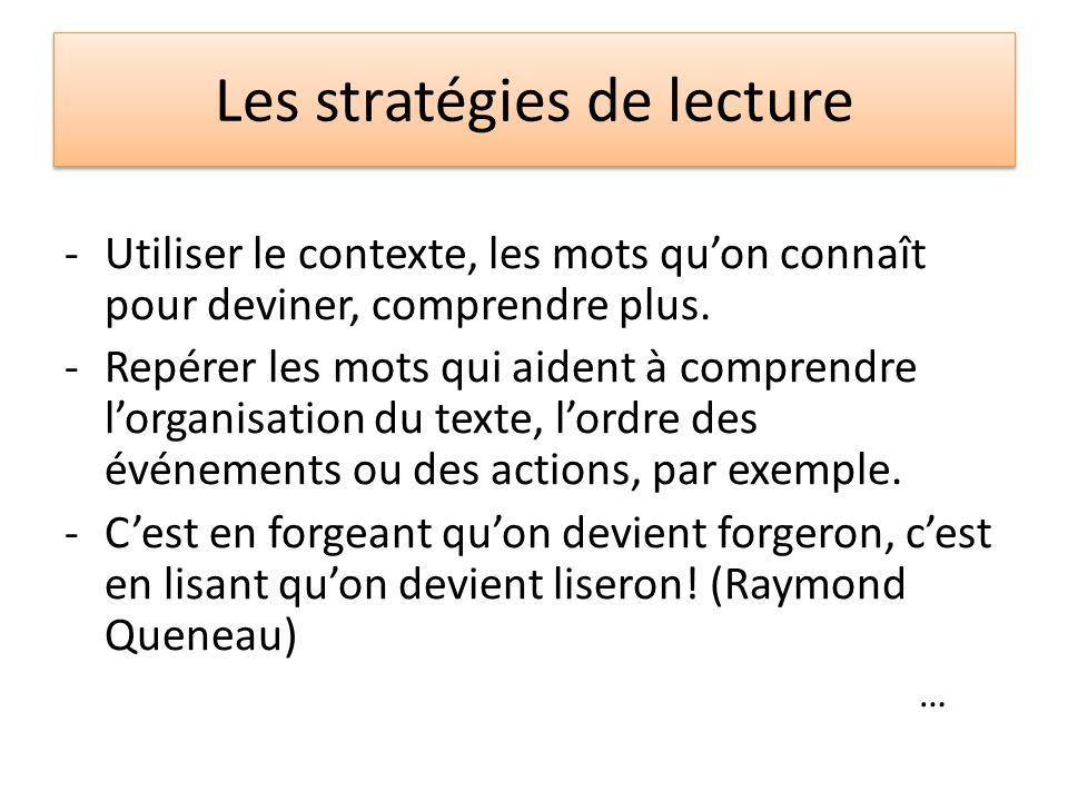 Les stratégies de lecture -Utiliser le contexte, les mots quon connaît pour deviner, comprendre plus. -Repérer les mots qui aident à comprendre lorgan