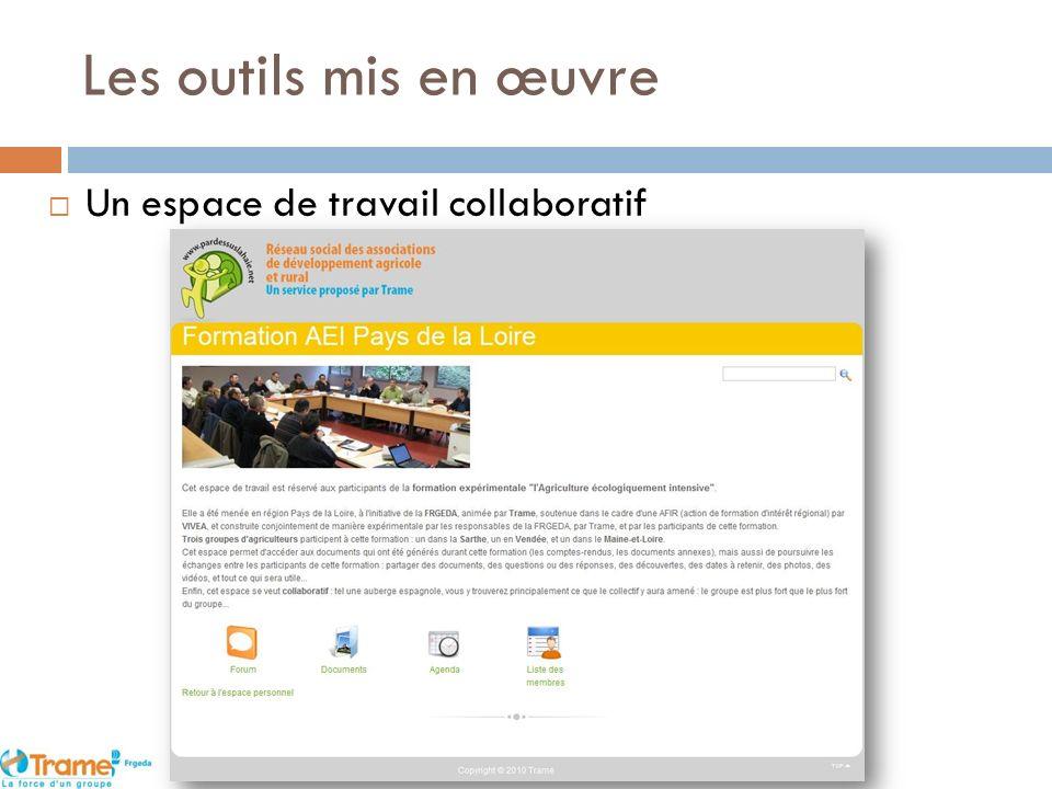 Les outils mis en œuvre Un espace de travail collaboratif