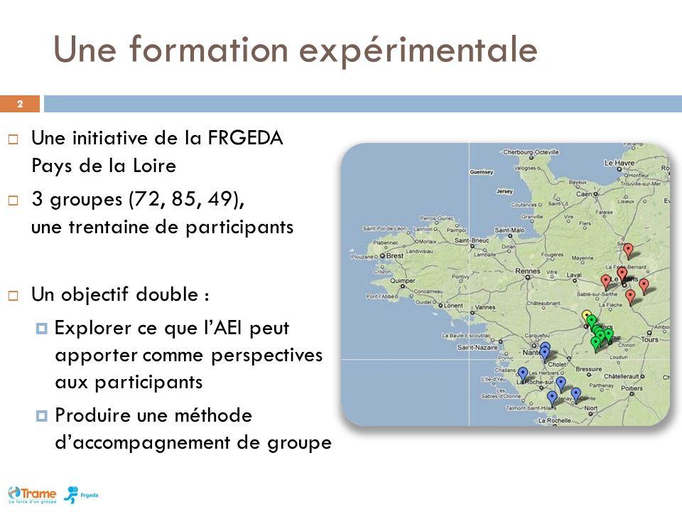 Une formation expérimentale 2 Une initiative de la FRGEDA Pays de la Loire 3 groupes (72, 85, 49), une trentaine de participants Un objectif double : Explorer ce que lAEI peut apporter comme perspectives aux participants Produire une méthode daccompagnement de groupe
