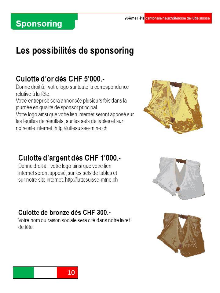 Organisation 10 96ème Fête cantonale neuchâteloise de lutte suisse Sponsoring Les possibilités de sponsoring Culotte dor dès CHF 5000.- Donne droit à: