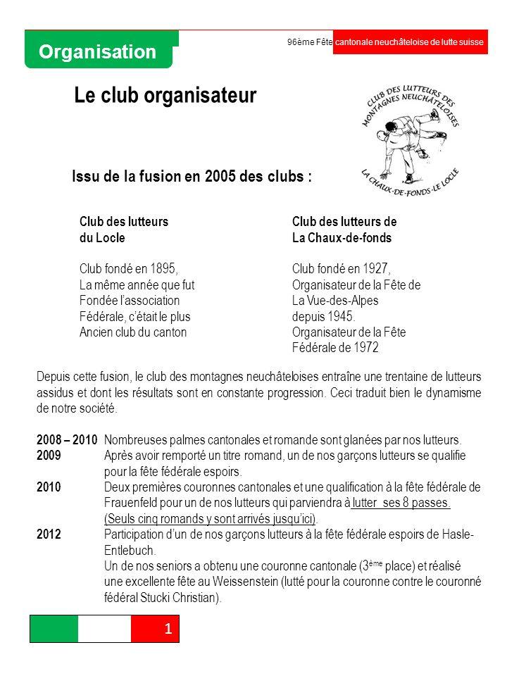 Le club organisateur Club des lutteurs du Locle Club fondé en 1895, La même année que fut Fondée lassociation Fédérale, cétait le plus Ancien club du