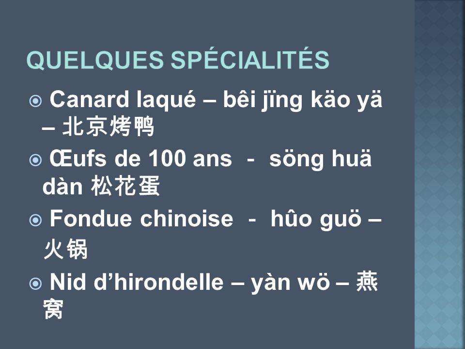 Canard laqué – bêi jïng käo yä – Œufs de 100 ans söng huä dàn Fondue chinoise hûo guö – Nid dhirondelle – yàn wö –